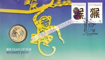 Australia / Christmas Island - 2016 Lunar New Year - Year of the MONKEY PNC/FDC