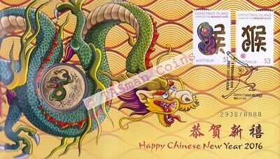 Australia / Christmas Island - 2016 Chinese New Year DRAGON PNC/FDC Limited Ed.
