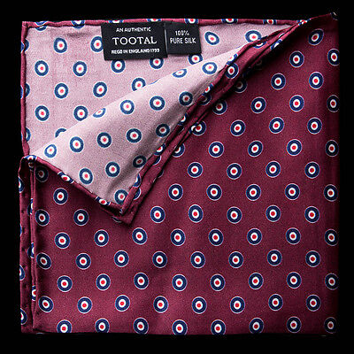 Authentic Tootal Silk Pocket Square/Hanky in Burgundy with Mod Target Roundel