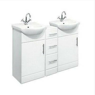 1250mm Double Bathroom Vanity Cabinet Furniture Unit With Chest of Drawers