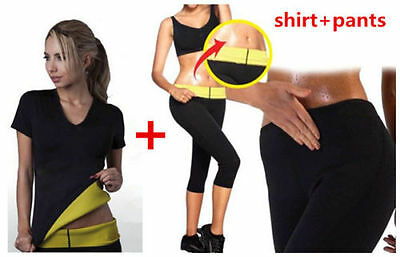 Md09* Completo T-Shirt E Pantaloncino Hot Shapers Sauna Dimagrante Fitness