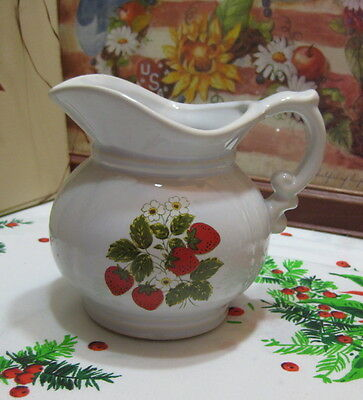 "McCoy USA Strawberry Country 5 1/2"" Small Round Pitcher #7538 Circa 70s"