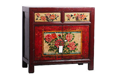 Antique Hand Painted Chinese Elm Red Chest Drawers Cabinet Cupboard 1930