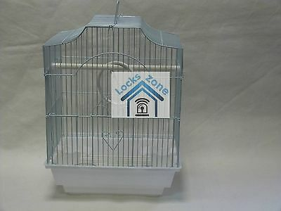 White Bird Cage Large Includes Handle & Perch & Feeding Bowls
