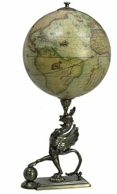 Antiqued Old World Mercator Terrestrial Globe on Bronze Griffon Statue Authentic