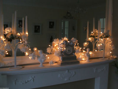 Electric Plug In 50 Led White Fairy String Mantle Wedding Lights Shabby Chic New