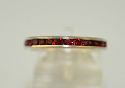 Vintage Sterling Silver Stacking Ring Band Size 8.25 Red Rhinestones All Around