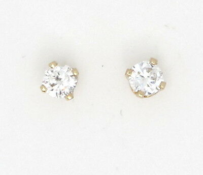 14k Yellow Gold Round Diamond Solitaire Stud Earrings .20ct