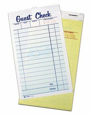 Adams Guest Check Pads, 2-Part, Carbonless, White and Canary, 6-3/8 x 3-3/8 50