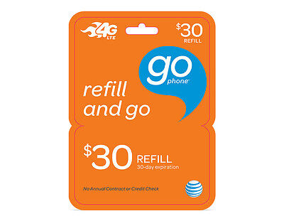 AT&T GoPhone $30 Refill. Real Time Reload Directly to Phone. No PIN Needed