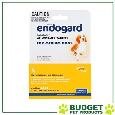 Endogard All Wormer For Dogs Medium 4 Tablets