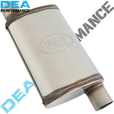 "2.5"" STAINLESS STEEL STRAIGHT THROUGH MUFFLER 9"" x 4"" OVAL 14"" LONG DUAL OFFSET"