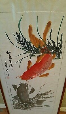 Vintage Antique Fine Quality Chinese Watercolor Painting Of Koi Fish, Signed.
