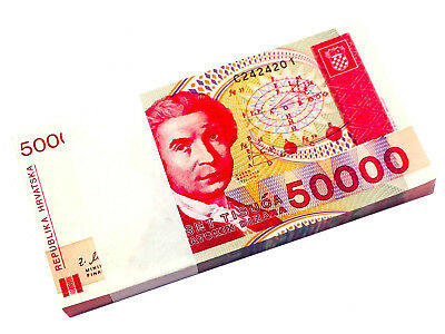 Croatia 50000 50,000 Dinars 1993 P 26 Unc Bundle Of (100 Notes)
