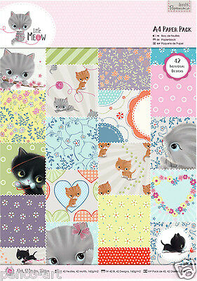 Papermania 42 pack of A4 160gsm paper Little Meow cats kittens flowers hearts
