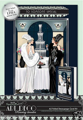 Docrafts Papermania Art Deco A5 foiled decoupage card kit 300gsm CHAMPAGNE
