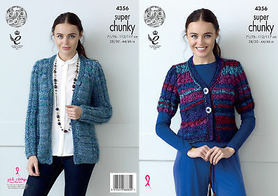 Womens Short Long Sleeve Cardigans Knitting Pattern King Cole Super Chunky 4356