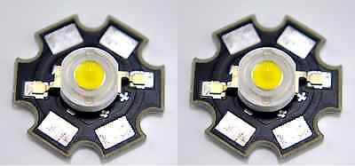 2 pcs New 1W White High Power Led Lamp with 20mm Star PCB 1 Watt US seller