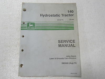 John Deere 140 Lawn and Garden Tractor Service Technical Manual SM2086 OEM