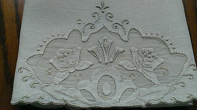 Vintage Madeira Hand Towel Linen & Organdy Embroidered Victorian Pattern