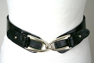XXXS / UK 4/6 - Monsoon Vintage Belt - 1980s - Black patent leather