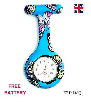 New Fashion Silicone Brooch Tunic Fob Nurse Watch BLUE BUTTERFLY + FREE BATTERY