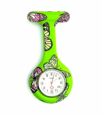 New Fashion Silicone Brooch Tunic Fob Nurse Watch GREEN BUTTERFLY + FREE BATTERY