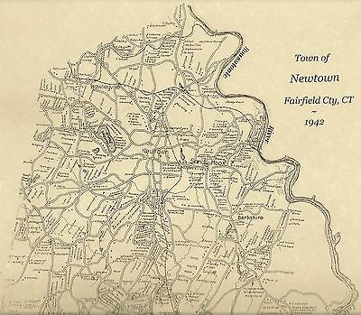 Newtown Sandy Hook Hawleyville CT 1942 Map with Homeowners Names Shown
