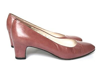 UK 6.5 Bruno Magli Shoes - 1980s Puce / Redwood Brown Leather Pumps - 39.5