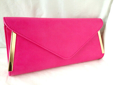 New Fuschia Pink Faux Leather Evening Day Clutch Bag Wedding Prom Party Shoulder