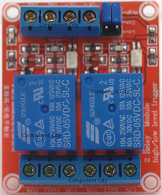 2 Channel 5v relay Relay Shield Module opto-isolated High Low Trigger 10Amp