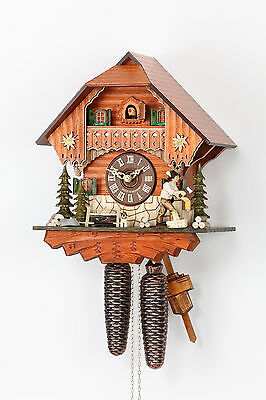 Original 8-Day Cuckoo clock,Kammerer,Black forest house,movable Holzhacker,