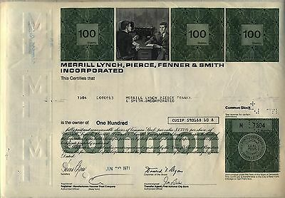 Merrill Lynch Pierce Fenner & Smith Stock Certificate Bank of America