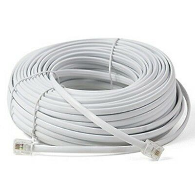 100ft White Telephone Cord Cable Wire Feet Extension Wire Prem Qual Home Office