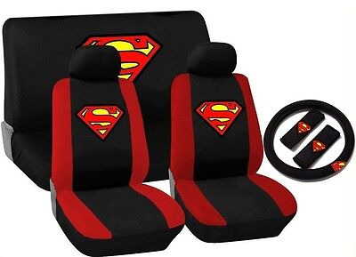 Superman Red Black Trim Car Seat Cover Set Front Rear Bench Steering Wheel HS