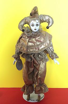 Gold Metallic Jester Collectible Porcelain Doll By Show Stoppers Collectible