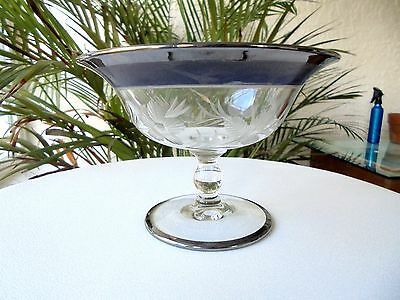 Heisey Flower Cutting Clear Small Compote Blue & Platinum Trim Signed