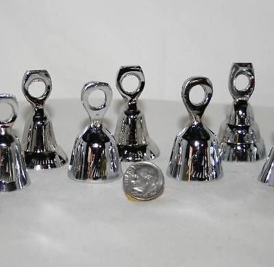 Solid CHROME BELL 6 Piece SET Assorted 1 3/4 Inch Tall Made In India NEW