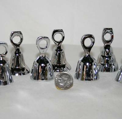 Solid CHROME BELL 12 Piece SET Assorted 1 3/4 Inch Tall Made In India NEW