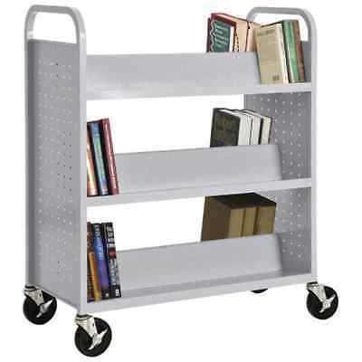 "Sandusky Lee SV336-MG Double Sided Sloped Shelf Welded Book Truck, 19"" Length, 6"