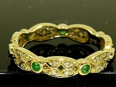 R133- Genuine 9ct SOLID GOLD Natural Emerald & DIAMOND Full Eternity Ring size N