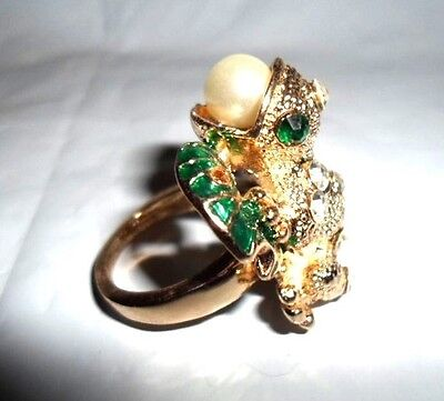 Frog Toad Lilypad Ring White Green Austrian Crystal Glass Pearl Goldtone 7 8 9