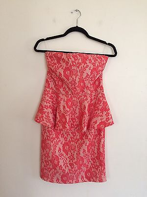 =LOVELY= PINKO BLACK Coral Floral Lace Tube Top Strapless Peplum Dress US8