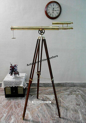 Marine Navy Nautical Brass Telescope Double Barrel With Wooden  Tripod Stand