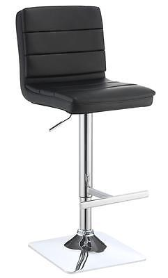 Contemporary Adjustable Black Upholstered Bar Stool by Coaster 120695 - Set of 2