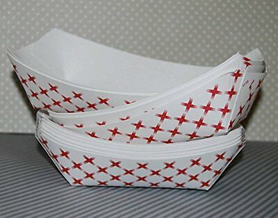 Adorox Small Paper Food Tray Nachos Fries Fruit Service Fair White/Red 50 Trays