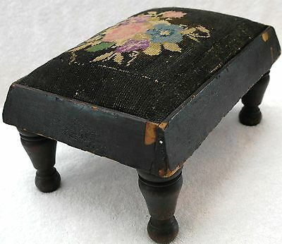 Antique Needlepoint Cross Stitch Embroidery Foot Stool Furniture Wood Classic