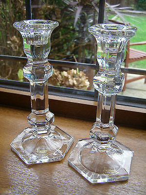 A Pair Of Stunning Harrods Fine Cut Glass Crystal Candle Sticks 17.5Cm Nr Mint.