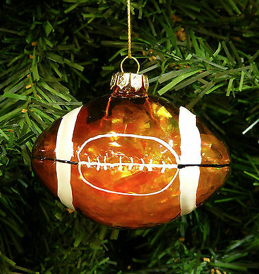 Hand Blown Glass Hand Painted Football Christmas Tree Ornament