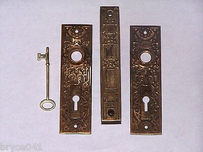 Antique Eastlake Ornate Mortise Door Lock W/ Plates and Key